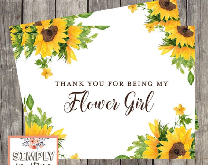 Thank You Card for Flower Girl | Sunflower Wedding | Bridal Party Thank You Card | PRINTED