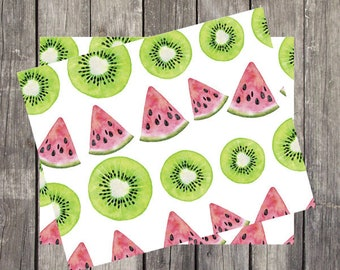 Summer Fruit Watercolor Note Card Set | Unique Stationery Gifts | Set of 4 Fun Fruit Note Cards | Watermelon Design Cards | PRINTED