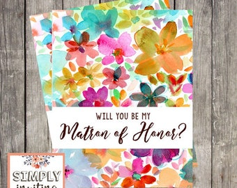 Will You Be My Matron of Honor Card | Fun Floral Wedding | Matron of Honor Proposal | PRINTED