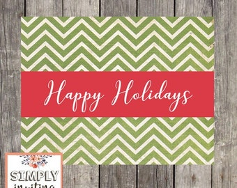Green Chevron Holiday Greeting Cards | Set of 10 | Personalized Cards | Season's Greetings | Merry Christmas | Happy Holidays | PRINTED