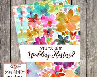 Will You Be My Wedding Hostess Card | Hostess Proposal Card |  Hostess Request Card | Fun Floral Wedding Host Card | PRINTED