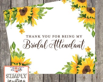Bridal Attendant Thank You Card | Wedding Sunflowers | Card for Wedding Attendant | PRINTED