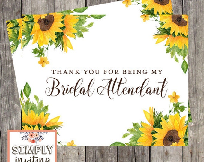 Thank You Card for Bridal Attendant | Sunflower Wedding | Bridal Party Thank You Card | PRINTED
