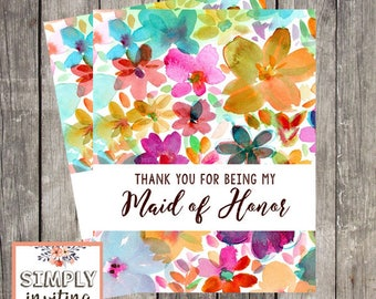 Maid of Honor Wedding Thank You Card | Fun Floral Wedding Day Card | Thank You for Being My Maid of Honor | PRINTED
