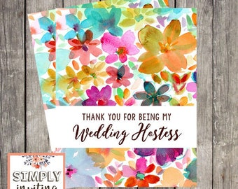 Wedding Hostess Thank You Card | Fun Floral Wedding Day Card Printed Note Card | Thank You for Being My Hostess | PRINTED