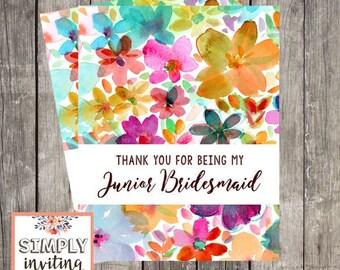 Junior Bridesmaid Wedding Thank You Card   Fun Floral Wedding Day Card   Thank You for Being My Junior Bridesmaid   PRINTED