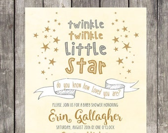 Twinkle Twinkle Little Star Baby Shower Invitation | Light Yellow | PRINTABLE FILE