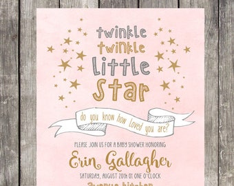 Twinkle Twinkle Little Star Baby Shower Invitation | Blush Pink | PRINTABLE FILE