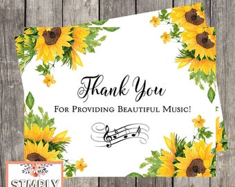 Wedding Musician Thank You Card | Sunflower Card for Organist | Card for Harpist | Thank You Card for Soloist | PRINTED