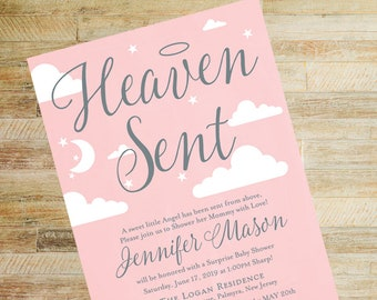 Heaven Sent Baby Shower Printed Invitations, Books for Baby and Diaper Raffle Cards | Set of 10 | Blush Pink and Silver