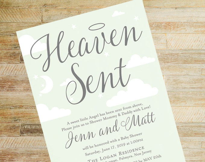 Heaven Sent Baby Shower Invitations   Set of 10   Mint and Gray   Books for Baby and Diaper Raffle Cards   PRINTED