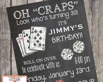 Casino Night Party Birthday Invitation | Game Night Party Invites | PRINTABLE FILE