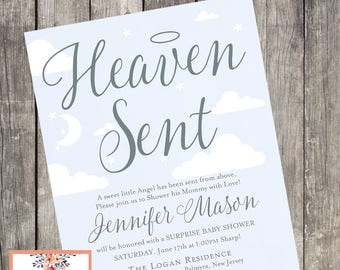 Printable Heaven Sent Baby Shower Invitation | DIGITAL FILE