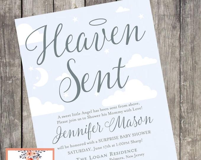 Printable Heaven Sent Baby Shower Invitation   DIGITAL FILE
