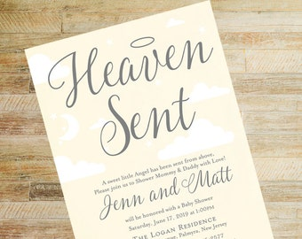 Heaven Sent Baby Shower Invitations | Yellow and Gray | Set of 10 | Books for Baby and Diaper Raffle Cards | PRINTED
