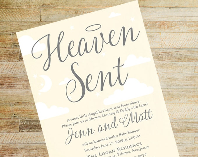 Heaven Sent Baby Shower Invitations   Yellow and Gray   Set of 10   Books for Baby and Diaper Raffle Cards   PRINTED