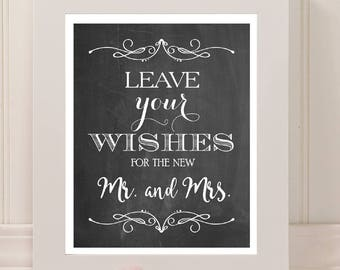 Wedding Wishes for the Mr. and Mrs. Sign | 8 x 10 | Wedding Reception Sign | PRINTED or PRINTABLE FILE