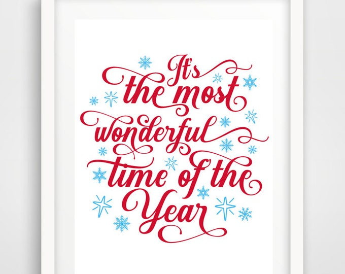 Most Wonderful Time of the Year | Set of 2 - 16 x 20 | Christmas Holiday Print | Holiday Quote Decoration | INSTANT DOWNLOAD