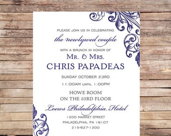 Classic Wedding Brunch Invitation | Rehearsal Dinner | Anniversary Scroll Invitation | Set of 10 | PRINTED