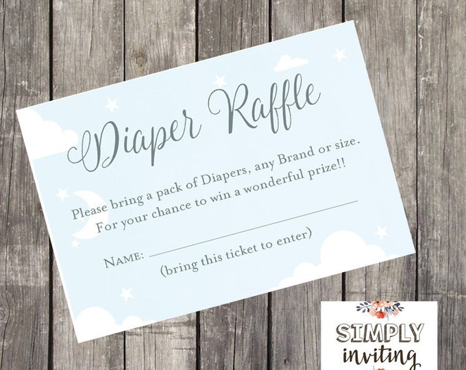 Baby Shower Diaper Raffle Ticket   Sky Blue and Silver   Baby Shower Printables   INSTANT DOWNLOAD