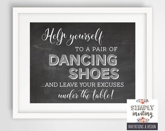Dancing Shoes Chalkboard 8 x 10 Wedding Sign | Wedding Reception Sign | INSTANT DOWNLOAD