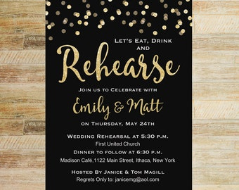 Eat Drink and Rehearse Gold Confetti Rehearsal Dinner Invitation | PRINTABLE FILE