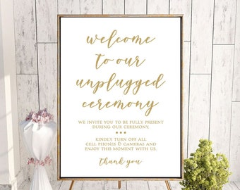 Unplugged Wedding Sign | 24 x 36 Printable Wedding Sign | INSTANT DOWNLOAD