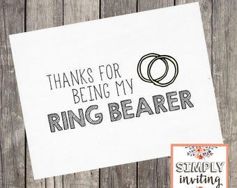 Ring Bearer Thank You Card | Thanks for Being My Ring Bearer Card | Shimmer Wedding Thank You Card | PRINTED