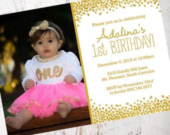 Gold Confetti Photo Birthday Invitation | PRINTABLE FILE