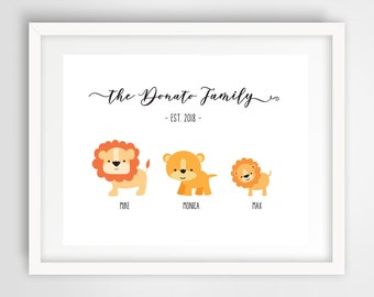 Cartoon Lion Family Wall Print | 11 x 14 Personalized Digital Art | Cute Lions Nursery Wall Print | Housewarming Gift | Home Decor PRINTABLE