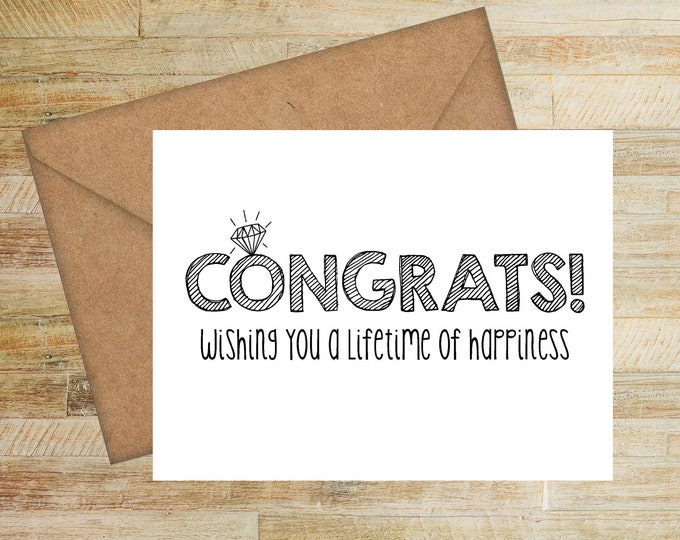 Congratulations Wedding Card | Engagement Party Card | Wishing You a Lifetime of Happiness | Bridal Shower Greeting Card | PRINTED