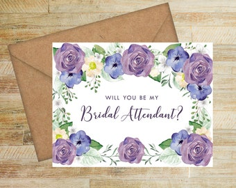 Bridal Attendant Proposal Card | Purple and Navy Floral | Will You Be My Bridal Attendant Card | PRINTED