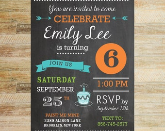 Birthday Party Chalkboard Invitation | Set of 10 | PRINTED