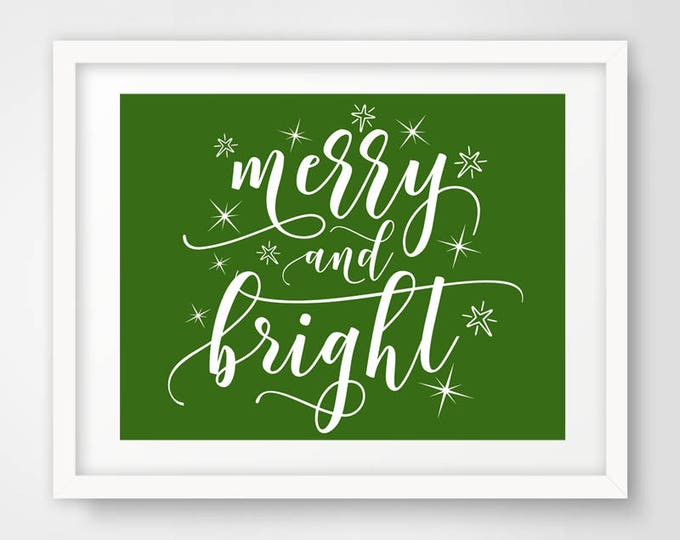 Merry and Bright Holiday Print | Set of 4 - 16 x 20 | Christmas Printable | Typography Print | Christmas Quote Decoration | INSTANT DOWNLOAD