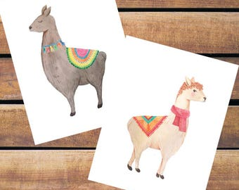 Watercolor Llamas Note Cards | Set of 8 | PRINTED