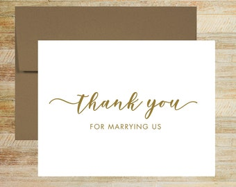 Wedding Officiant Card   Thank You for Marrying Us Card   PRINTED