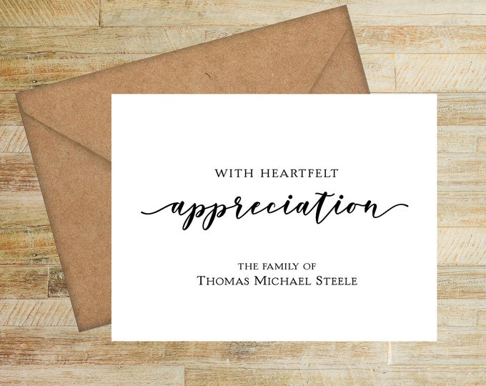 With Heartfelt Appreciation Sympathy Thank You Card | Personalized Funeral Thank You Notes | Set of 10 | PRINTED