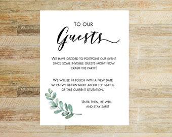 Party Postponement Card | Card for Event Cancellation | Baby Shower Reschedule Card | Wedding Invitation Card | INSTANT DOWNLOAD