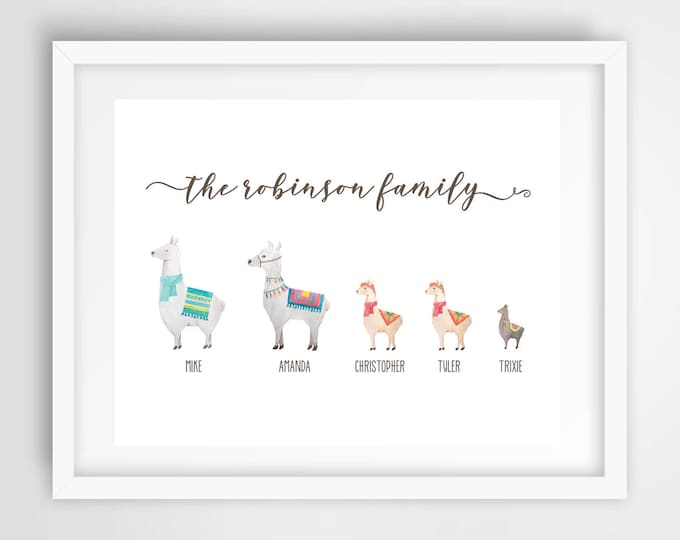 Featured listing image: Llama Family Wall Print | 8 x 10 Personalized Family Art | Llama Family Home Decor | Housewarming Gift | Cute Llamas Art | PRINTED