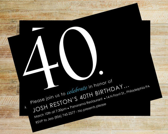 40th Birthday Invitation | Milestone Birthday | Digital File Invite | Party Invites | Over the Hill Birthday | PRINTABLE