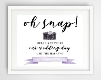 Social Media Photo Hashtag Wedding Sign | 8 x 10 | Wedding Reception Sign | PRINTED or PRINTABLE FILE