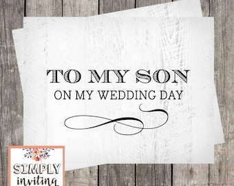 To My Son on My Wedding Day | Wedding Day Card for Son | Special Wedding Gift Card | PRINTED