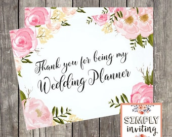 Thank You Card for Wedding Planner | Pink Floral | Wedding Vendor Thank You Card | PRINTED