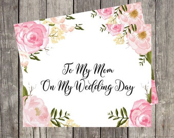 Wedding Day Card for Mom   Mother of the Bride   Wedding Card for Mother in Law   Card for Step Mom   PRINTED