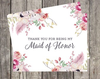 Maid of Honor Thank You Card | Floral Watercolor Wedding Card for Maid of Honor | Thank You for Being My Maid of Honor | PRINTED