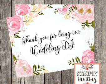 Wedding DJ Thank You Card | Pink Floral Wedding Vendor Card | PRINTED