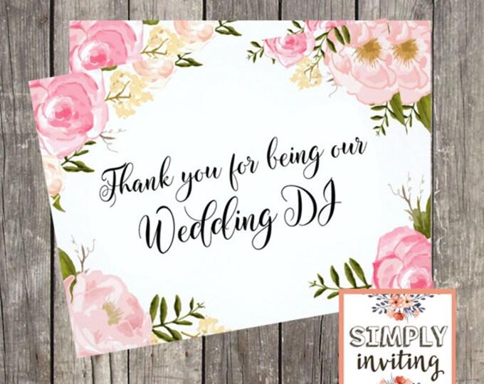 Thank You Card for Wedding DJ | Pink Floral | Wedding Vendor Thank You Card | PRINTED
