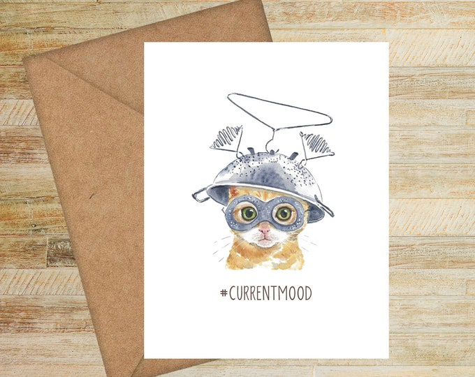 Funny Watercolor Cats Hashtag Current Mood Note Cards | PRINTED