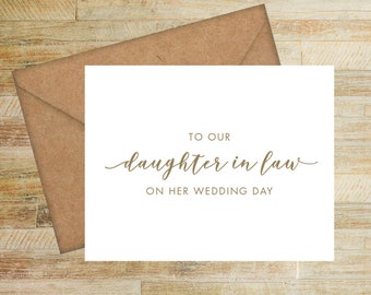 To Our Daughter In Law On Her Wedding Day Card   Card from Parents of the Groom   Card for Bride   PRINTED