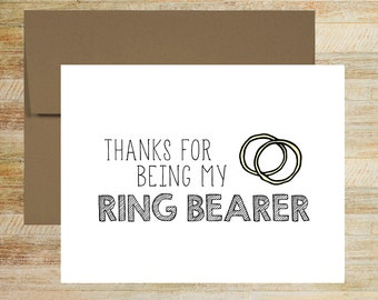 Thanks for Being My Ring Bearer   Wedding Party Thank You Card   A2 size PRINTED